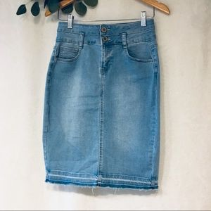 Raw hem high waist pencil denim skirt, M